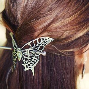 Oberon Design Pewter Butterfly Hair slide stick